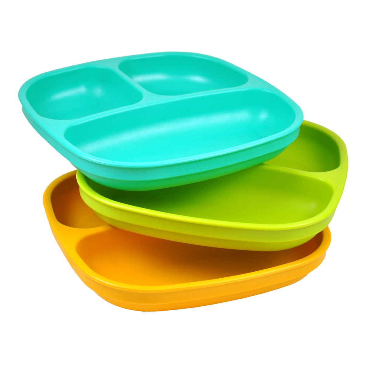 Re-Play Divided Plates, Aqua/Green/Sunny Yellow, 3-Pack Re-Think It Inc. 80802