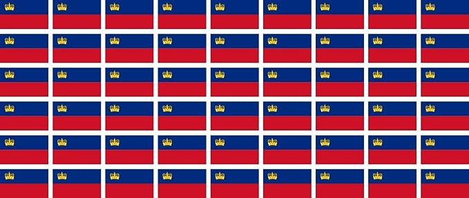 Mini Aufkleber Set Pack Glatt 20x12mm Sticker Liechtenstein Flagge Banner Standarte Fürs Auto Büro Zu Hause Und Die Schule 54 Stück Bürobedarf Schreibwaren
