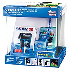 This Penn Plax Vertex Aquarium Kit is perfect for any beginner or for those looking for an all in one solution. Everything you need to get started is included, one 2.7 gallon glass fish tank, hang on water filter, thermometer, and fish net. T...