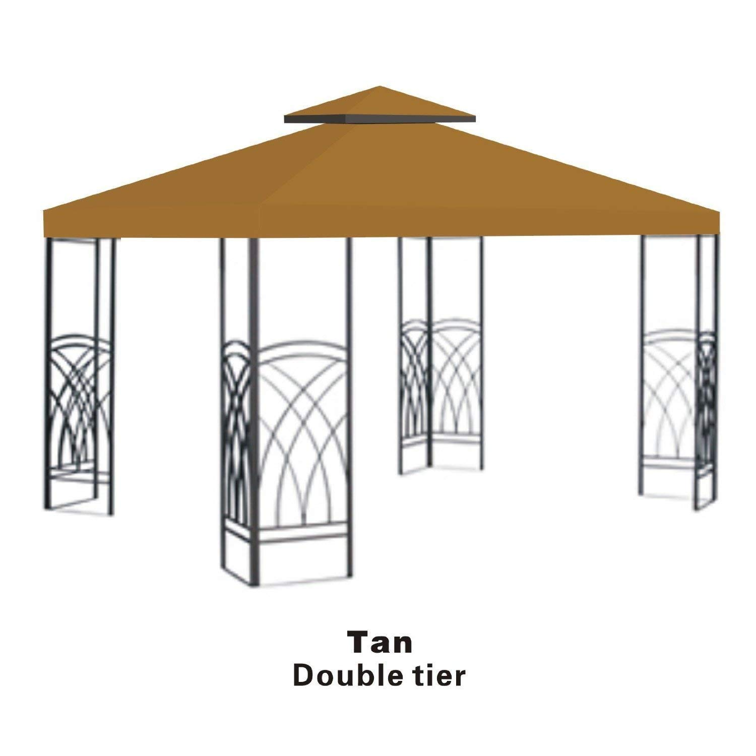 Strong Camel Double Tier Replacement Cover for 10'X10'Gazebo Canopy Top Patio Pavilion Cover Sunshade Polyester-Beige Color Sunrise