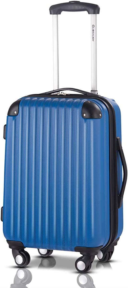 Goplus 20 ABS Carry On Luggage Expandable Hardside Travel Bag Trolley Rolling Suitcase GLOBALWAY Navy