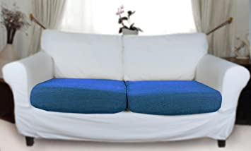 Stretch Elastic Cover blue for a pair of sofa sitting cushions