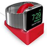 Orzly Compact Stand for Apple Watch - Nightstand Mode Compatible - RED Support Stand with Integrated Cable Management Slot (Compatible with both 38mm & 42mm Sizes)