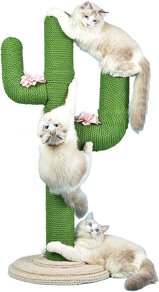 WUFENG Marco de Escalada para Gatos, Poste rascador para Gatos Cactus de 31
