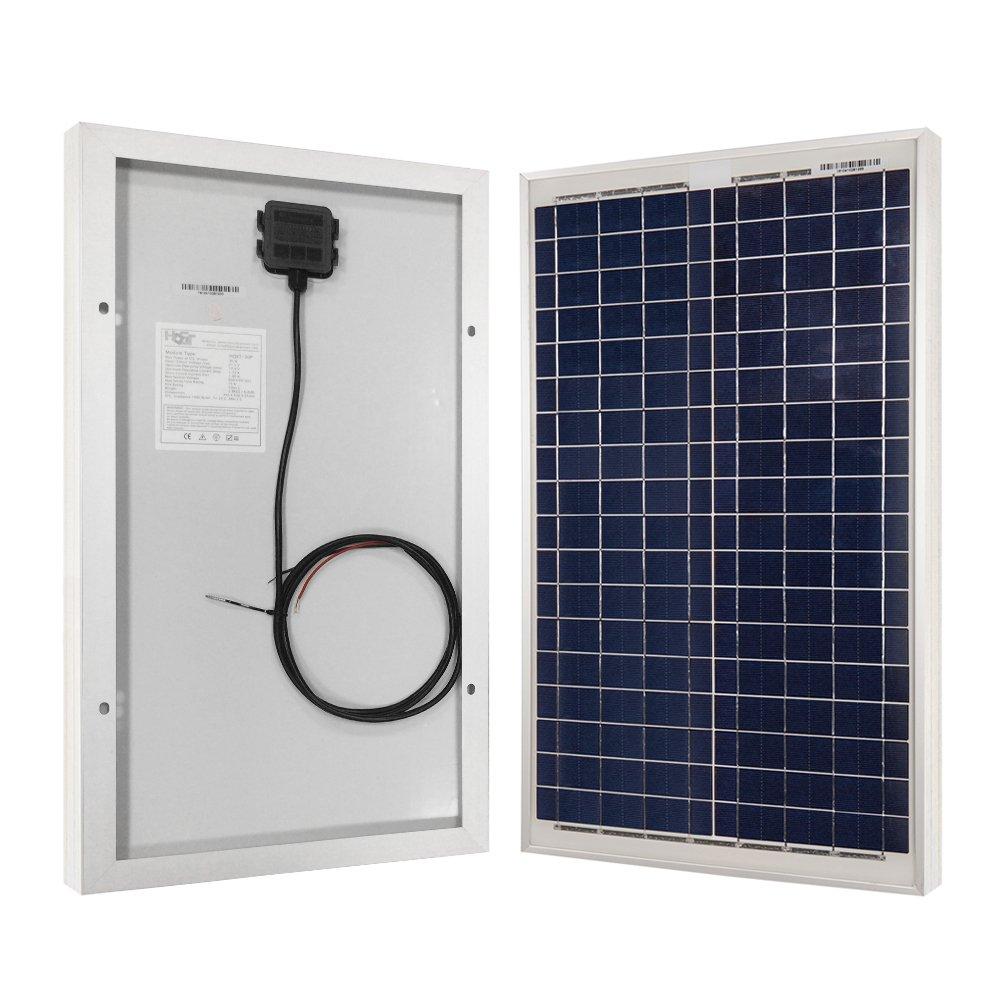 HQST 30 Watt 12Volt Off Grid Polycrystalline Portable Solar Panel for RV Marine Boat