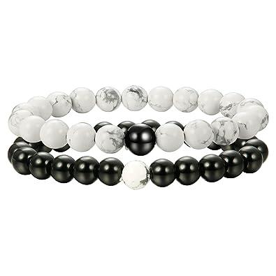 acheter en ligne c7c71 7a9cf Sailimue 2 Pcs 8MM Bracelets Perle Homme Femme Bracelet Couple Distance  Bracelet en Pierre Cadeau pour les Amoureux