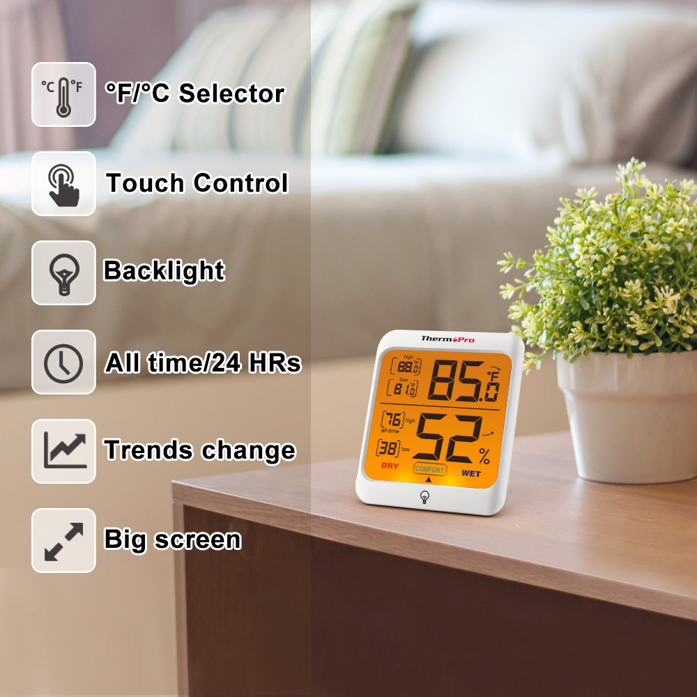 ThermoPro TP53 Hygrometer Humidity Gauge Indicator Digital Indoor Thermometer Room Temperature and Humidity Monitor with Touch Backlight by ThermoPro (Image #8)