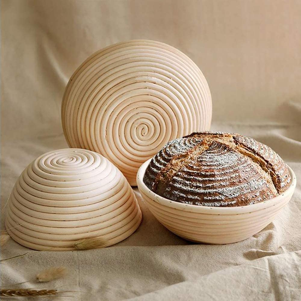 Unique WElinks Round Rattan Proofing Basket Banneton Brotform Bowl Bread Proofing Proving Baskets Pastry Dough Sourdough Proofing Blooming Basket w//Bread Scraper /& Lined Cloth
