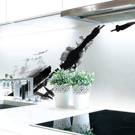Küchenrückwand Tinte Abstrakt Premium Hart Pvc 0 4 Mm Selbstklebend Direkt Auf Die Fliesen Größe 60 X 51 Cm