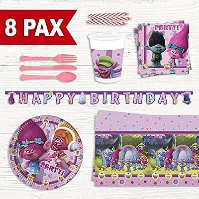 Party Fiesta Pack cumpleaños Trolls para 8 Personas: Amazon.es ...