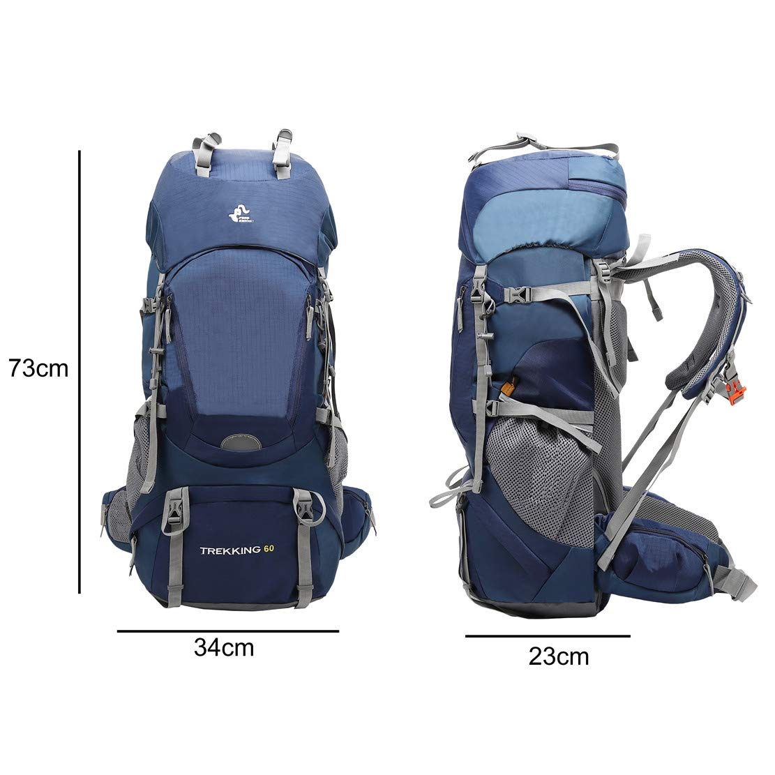 JOTHIN Homme en Plein Air Sac de Randonn/ée Grande Alpinisme Sac /à Dos de Voyage 60L Imperm/éable Sacs de Trekking Nylon Sac dalpinisme