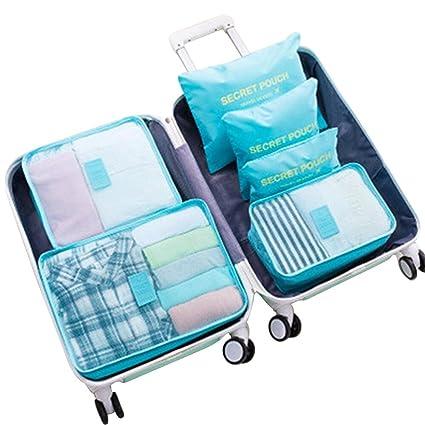 6 Set de Organizador de Equipaje, Impermeable Organizador de Maleta Bolsa para Ropa Sucia de Viaje, Material Nylon(Blue3)