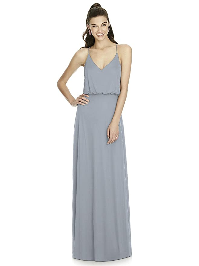 e011334812 Amazon.com  Alfred Sung Style D739 Floor Length Chiffon A-Line Skirt Formal  Dress - V-Neck  Clothing