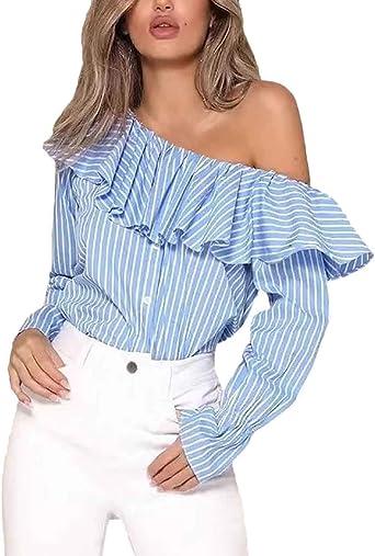 Blusas Mujer Moda One Shoulder T-Shirt Primavera Otoño Tops Colores Sólidos Manga Largo Modernas Casual Elegante Volantes Camisas Shirts: Amazon.es: Ropa y accesorios