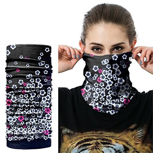 O-C Black White Flowers Headwear Multi-Functional Neck Bandana Outdoor Sport Magic Headband Elastic Seamless Scarf Face Mask,Balaclava,Helmet Liner,ATV/UTV Riding UV Resistence (Atv Hunting)
