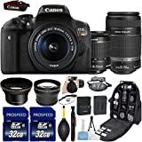 Canon EOS Rebel T6i DSLR Camera with 18-55mm IS STM + 55-250mm IS STM Lenses + 58mm HD Wide Angle Lens + 2.2x Telephoto Lens + 2Pcs 32GB Commander MemoryCard + Backpack Case + Grip Strap + Air Blower