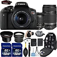 Canon EOS Rebel T6i DSLR Camera with 18-55mm IS STM + 55-250mm IS STM Lenses + 58mm HD Wide Angle Lens + 2.2x Telephoto Lens + 2Pcs 32GB Commander MemoryCard + Backpack Case + Grip Strap + Air Blower At A Glance Review Image