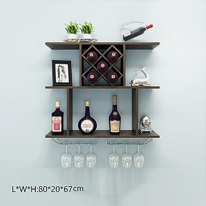 YXX- 5 Botellas de Madera 6 estantes del Vino de Cristal para el Estante de