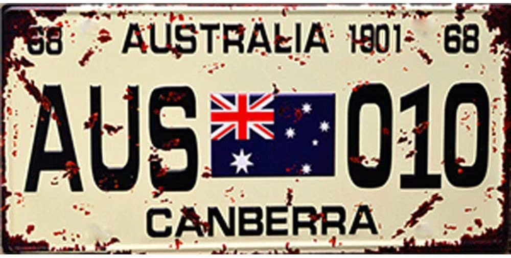 Easy Painter 12x6inch Metal Poster Vintage Feel Metal Tin Sign Plaque for Home, Bathroom and Bar Wall Decor Car Vehicle License Plate Souvenir (Australia Canberra)
