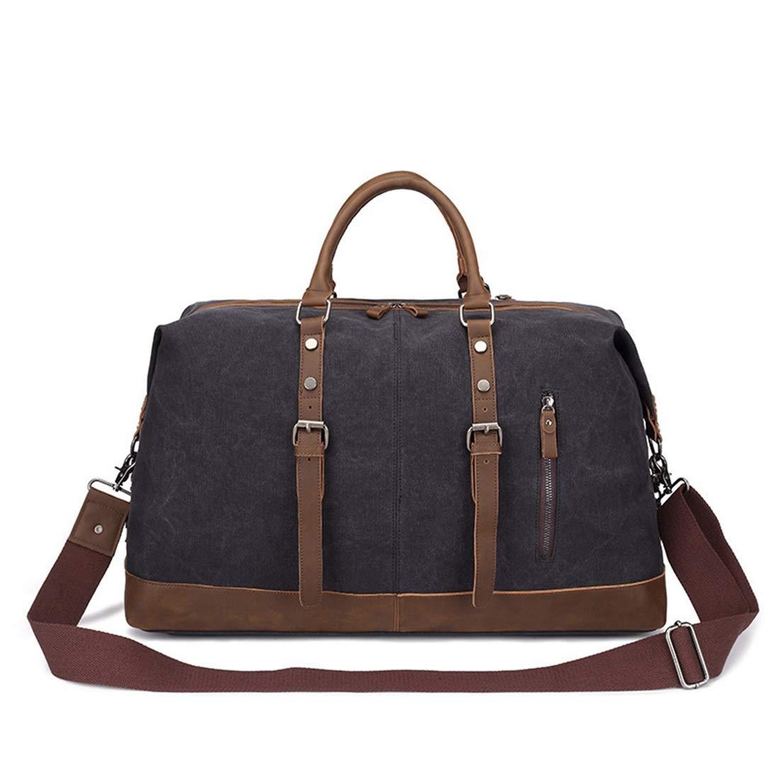 Color : Black MATCHANT Casual Zipper Waterproof Mens Luggage Bag Canvas Messenger Bag Shoulder Bag