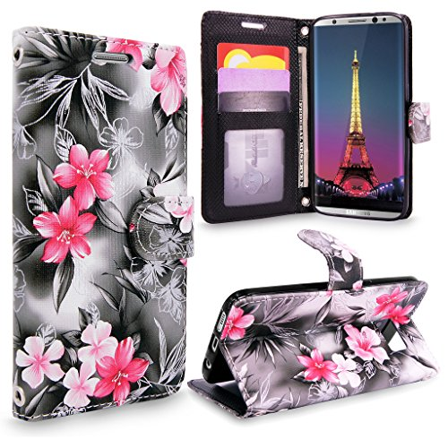 S8 Case, Galaxy S8 Wallet Case, Cellularvilla [Slim] [Card Slot] Premium Pu Leather Wallet Case [Wristlet] [Drop Protection] Flip Protective Stand Cover For Samsung Galaxy S8 G930 (Black Pink Flower)