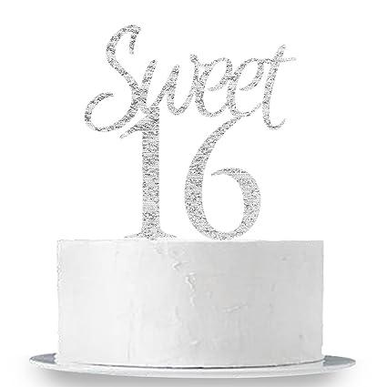 4f6e06c0f2b3f Amazon.com  INNORU Silver Sweet 16 Cake Topper - Happy 16th Birthday Party  Decorations Supplies  Toys   Games