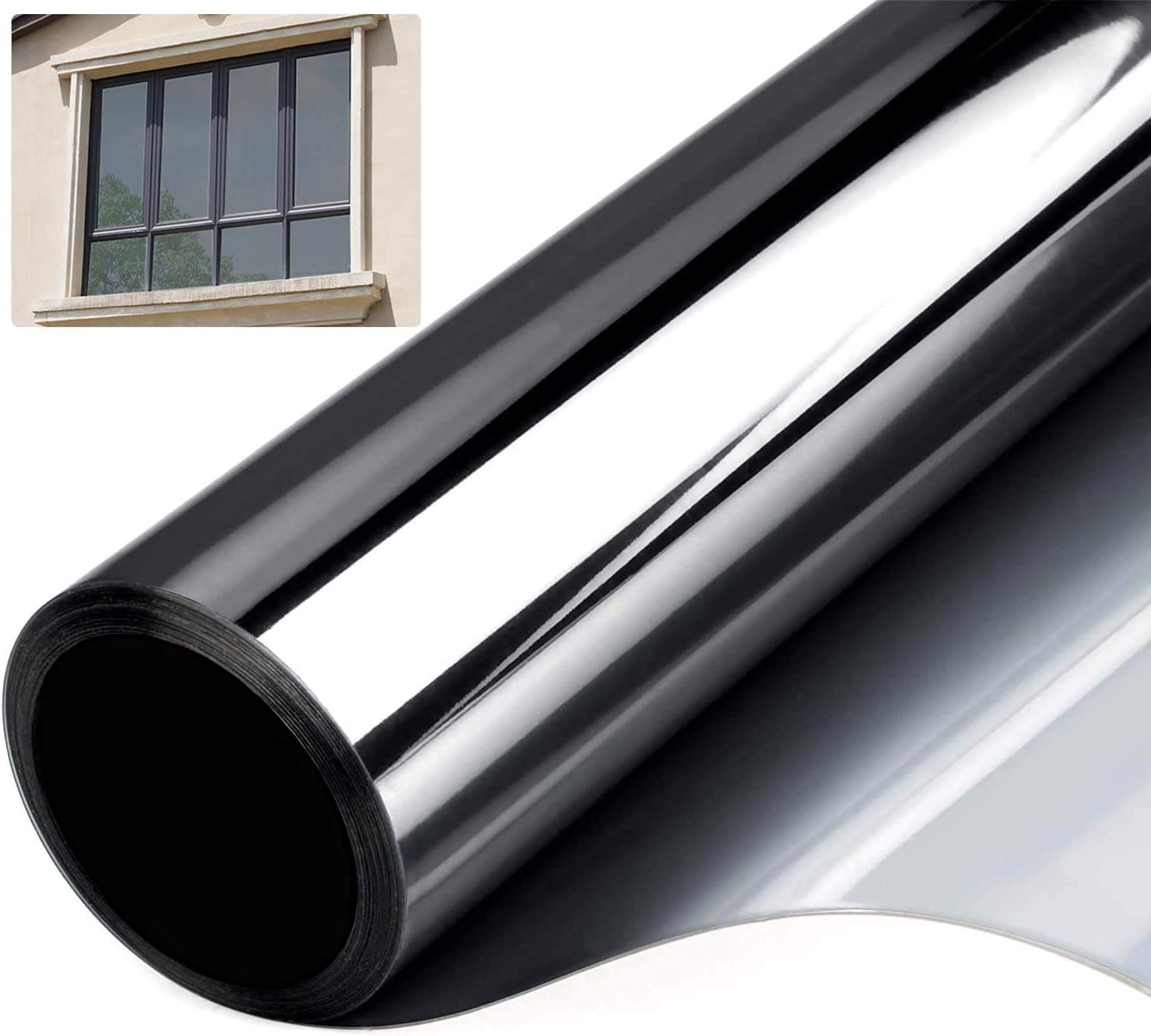 Window Film Privacy One Way Mirror Privacy Film for Glass Windows UV Blocking Heat Insulation Sun Blocking Screen Stickers Decorative Window Tinting Film for Office Home Kitchen Meeting Living Room