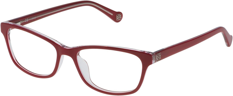 Loewe VLW90554098H Monturas de gafas, Red+Crystal, 55 Unisex