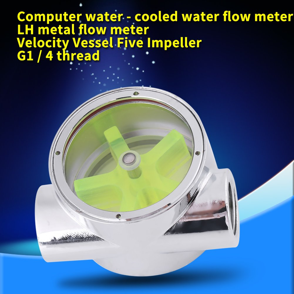 G1//4 Flow Indicator,Tungsten Alloy Water Flow Indicator,Standard Female to Female Thread,for Computer or Other Water Cooling Systems
