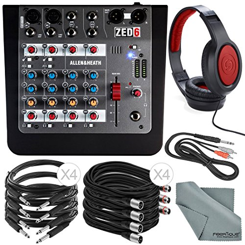 Allen & Heath ZED-6 6-Input Compact Analog Mixer and Deluxe Bundle w/ Closed-Back Headphones, 9X Cables, Fibertique Cloth by Photo Savings