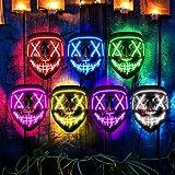 LED Light Up Halloween Mask, Scary Rave Glow LED