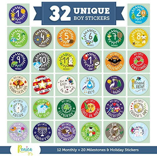 Massive Pack of 32 Ronica Baby Boy Stickers: 12 Baby Monthly Stickers + 20 Popular Milestones Baby Stickers - Record Your Babys Growth, Holidays and Special Firsts - Unique Baby Gifts