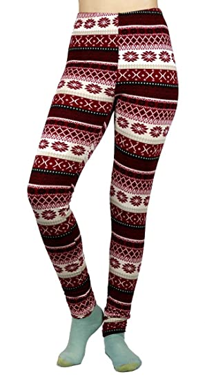 d4b95d31b2a356 Just One Womens Christmas Leggings Winter Soft Brushed Xmas Fair Isle,  Mauve Pluse Size 1X