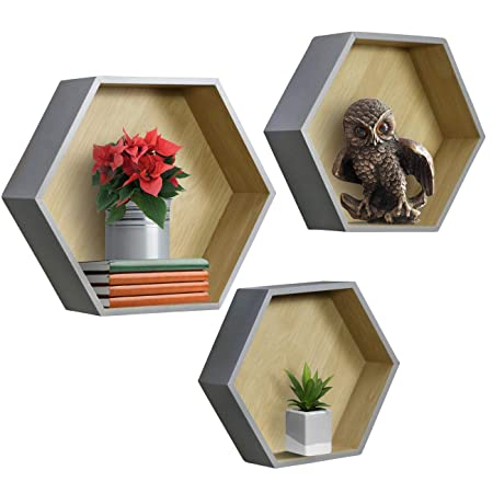 Sorbus Floating Shelf Hexagon Set — Honeycomb Wall Mounted Shelves, Decorative Hanging Display For Collectibles, Photos Frames, Plants, And More (Set Of 3 – Grey) by Sorbus