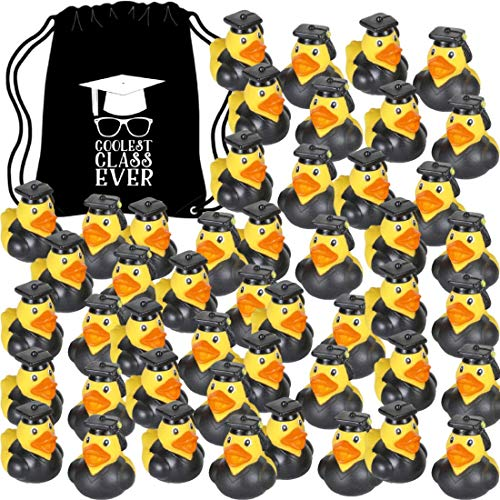 Graduation Rubber Ducks (Bulk Pack of 48 Duckies + 1 Drawstring Backpack) - Graduation Party Favors - Coolest Class Ever Bag - Graduation Reception Table Decorations - Graduation -