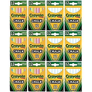 Crayola Chalk Sticks, 6 White Boxes + 6 Colored Boxes, 12 Sticks Per Box (Total 144 Chalk Sticks)