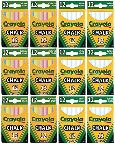 Crayola Chalk Sticks, 6 White Boxes + 6 Colored Boxes, 12 Sticks Per Box (Total 144 Chalk Sticks) by Crayola