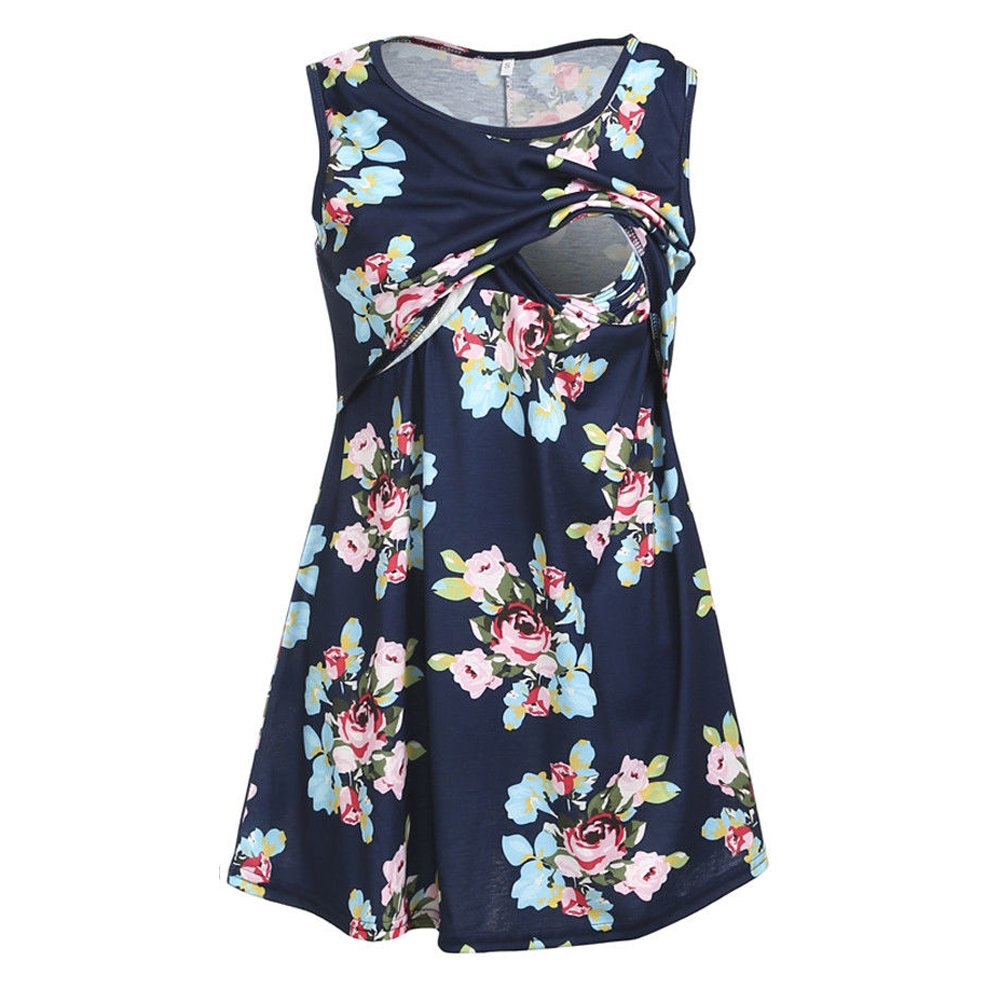 MIOMI Womens Floral Sleeveless Pregnant Maternity Tank Shirt Nursing Tops Mom Breastfeeding Blouse