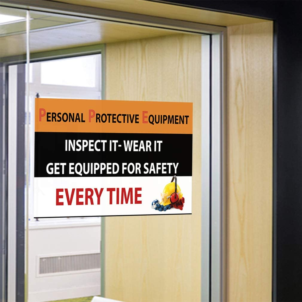 27inx18in Decal Sticker Multiple Sizes Personal Protective Equipment Safety Industrial /& Craft Protective Outdoor Store Sign Black Set of 10
