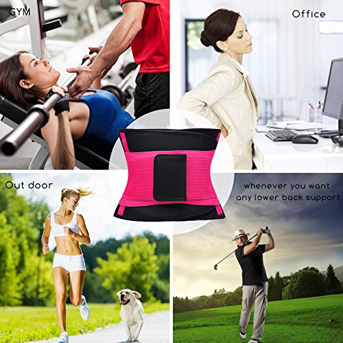 VENUZOR Waist Trainer Belt for Women - Waist Cincher Trimmer - Slimming Body Shaper Belt - Sport Girdle Belt (UP Graded) (Large, Fluorescence Pink) by VENUZOR (Image #7)