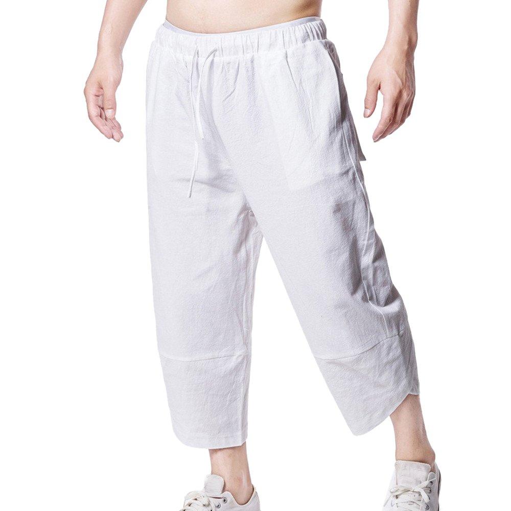 iZHH Summer Men Solid Linen Elastic Soft Ankle-Length Loose Pants Slacks(White,40)