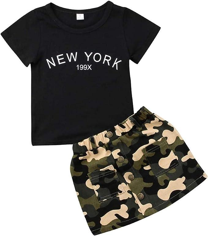 2x Toddler Kids Baby Girls T-Shirt Tops+Skirt Dress Summer Outfits Sets Clothes