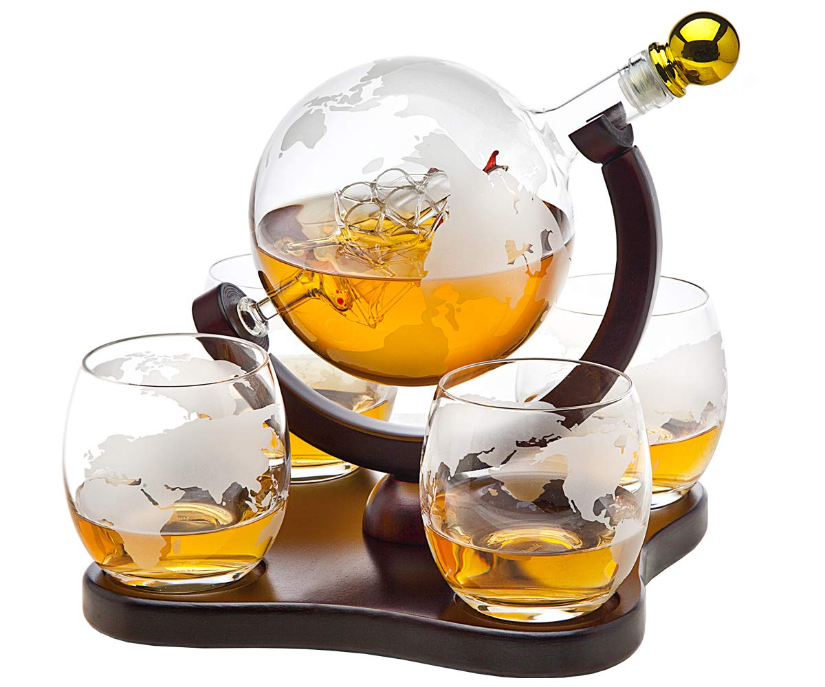 Whiskey Decanter Globe Set with 4 Etched Globe Whisky Glasses - for Liquor, Scotch, Bourbon, Vodka - 850ml