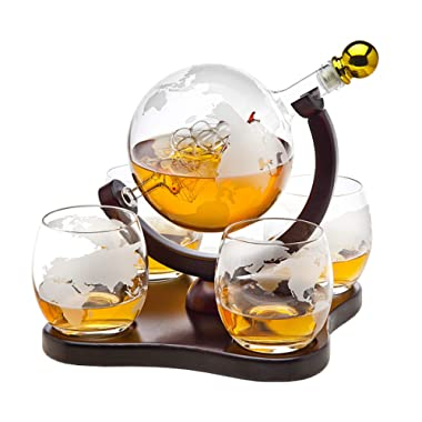 Godinger Whiskey Decanter Globe Set with 4 Etched Globe Whisky Glasses - for Liquor, Scotch, Bourbon, Vodka - 850ml