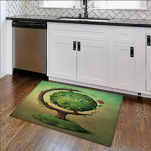 Anti-Slip Thick Rug Globe with house,garden and road or greeting card. Comfort at Home, Office W34
