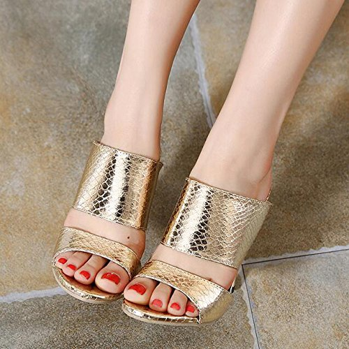 Womens Diarios Heels Stiletto Sandals Gold Casuales Zapatos Linyi vYqgdxBv