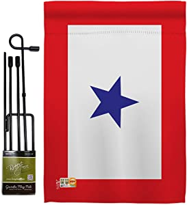 Blue Star Garden Flag - Set with Stand Armed Forces Service All Branches Support Honor United State American Military Veteran Official - House Banner Small Yard Gift Double-Sided 13 X 18.5
