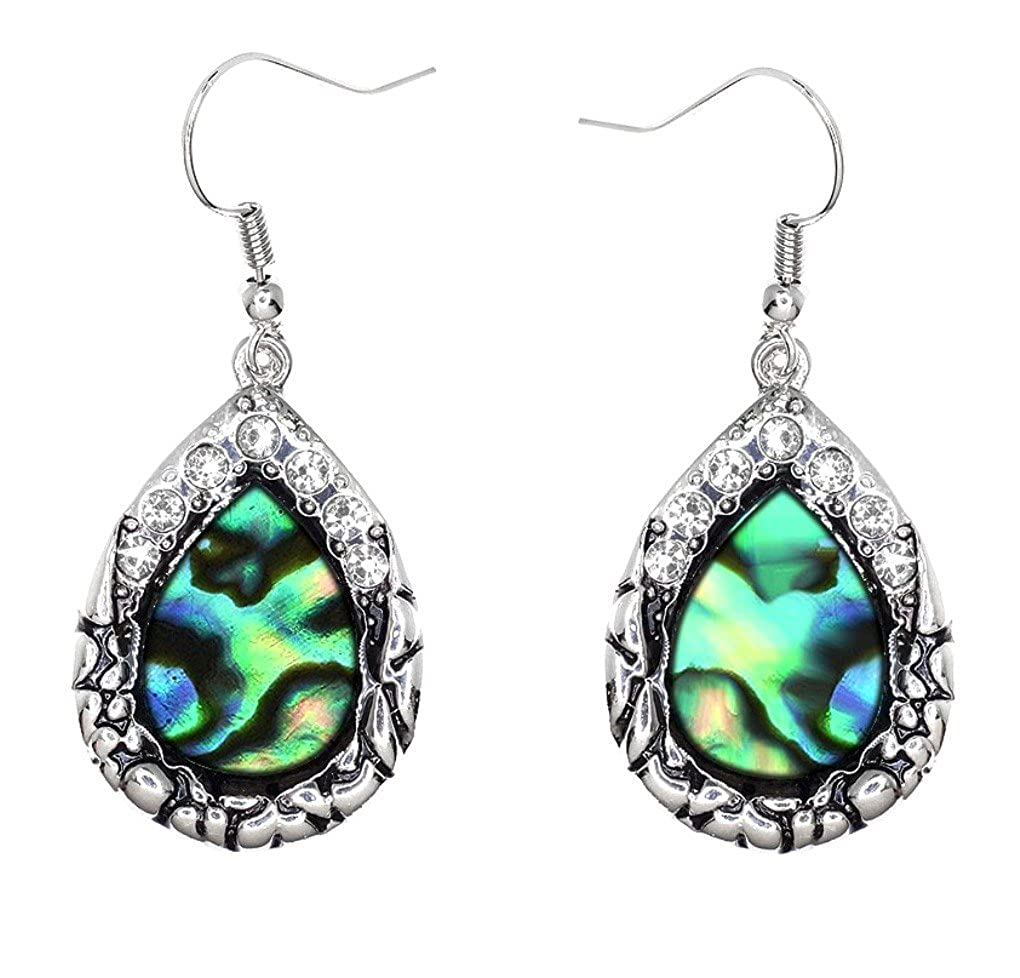 DianaL Boutique Beautiful Silver Tone Angel Tear Drop Teardrop Abalone Earrings Gift Boxed
