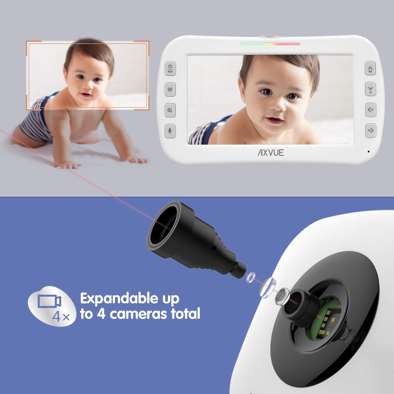 "Video Baby Monitor 4.3"" Screen, Two Cameras for Two Rooms, Auto Night Vision, Long Range, Pukka White : Baby"