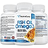 180 x Best Fish Oil Omega 3 Softgels - High Potency - 2500mg Serve = 860 / 650 EPA DHA - Natural Lemon Flavor and Burpless - Molecularly Distilled for Highest Purity - Made in the USA